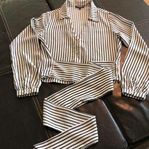 Fashion Nova Black/White striped blouse